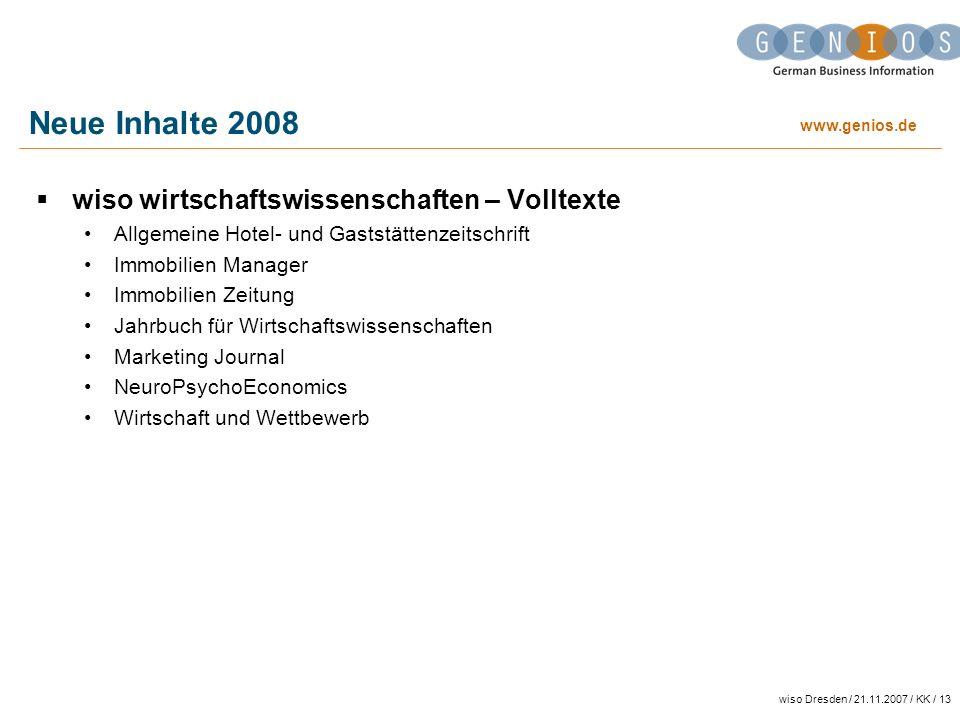 Neue Inhalte 2008 wiso wirtschaftswissenschaften – Volltexte