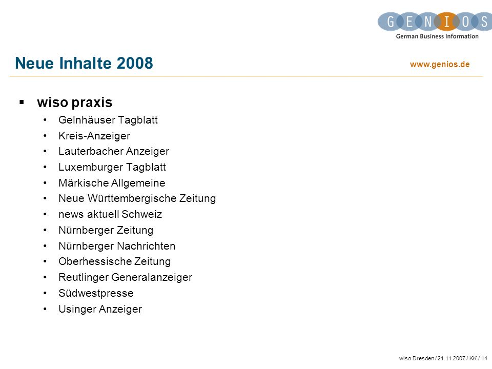 Neue Inhalte 2008 wiso praxis Gelnhäuser Tagblatt Kreis-Anzeiger