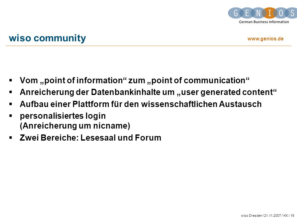 "wiso community Vom ""point of information zum ""point of communication"