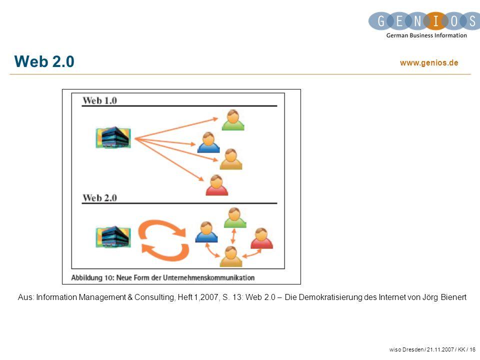 Web 2.0 Aus: Information Management & Consulting, Heft 1,2007, S. 13: Web 2.0 – Die Demokratisierung des Internet von Jörg Bienert.