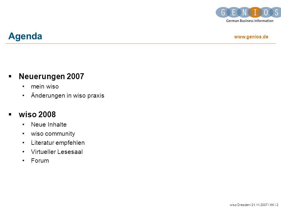 Agenda Neuerungen 2007 wiso 2008 mein wiso Änderungen in wiso praxis