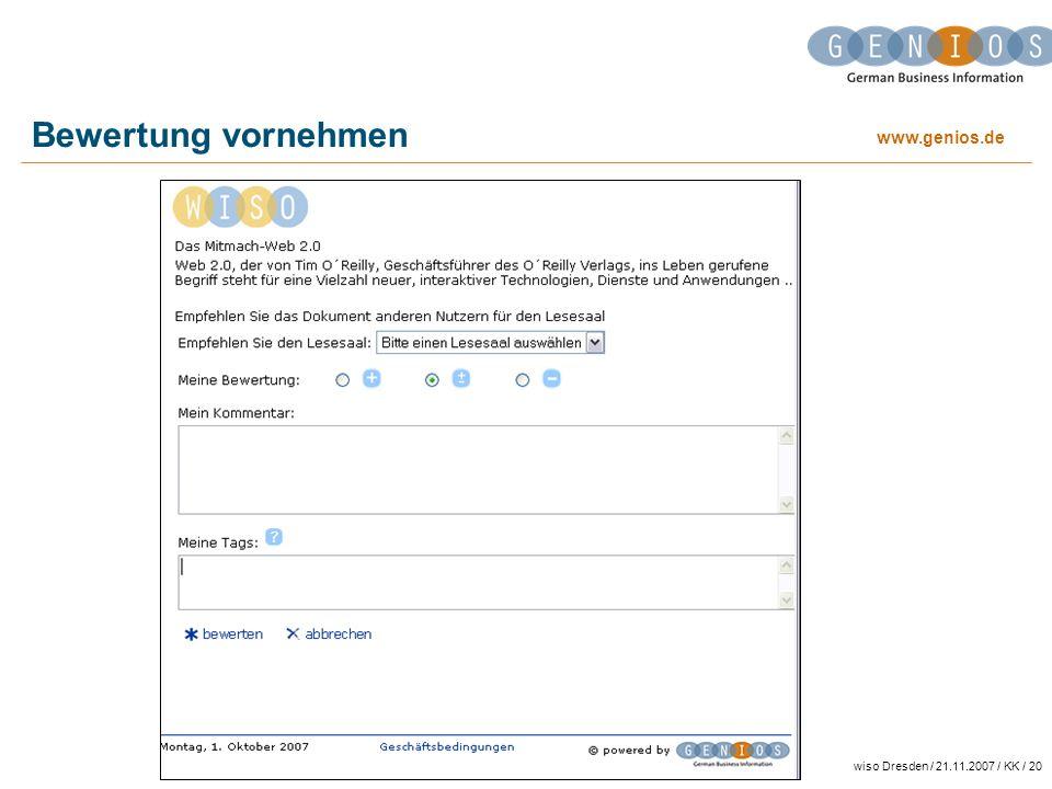 Bewertung vornehmen wiso Dresden / 21.11.2007 / KK / 20