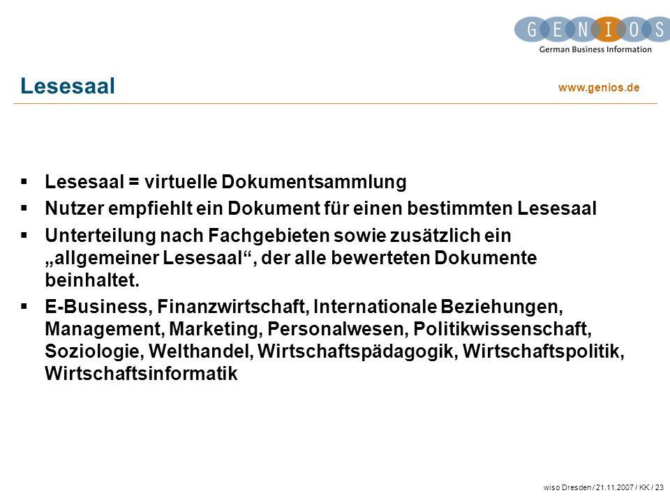 Lesesaal Lesesaal = virtuelle Dokumentsammlung