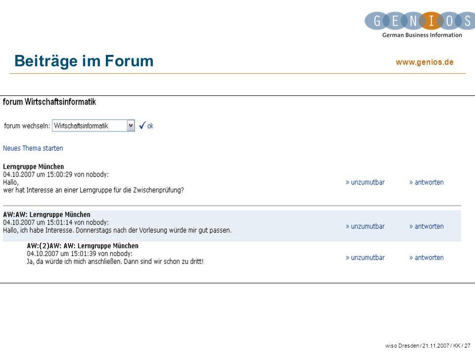 Beiträge im Forum wiso Dresden / 21.11.2007 / KK / 27