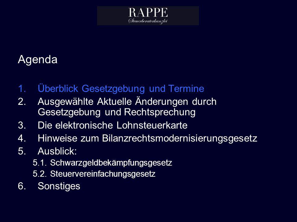 Agenda Überblick Gesetzgebung und Termine