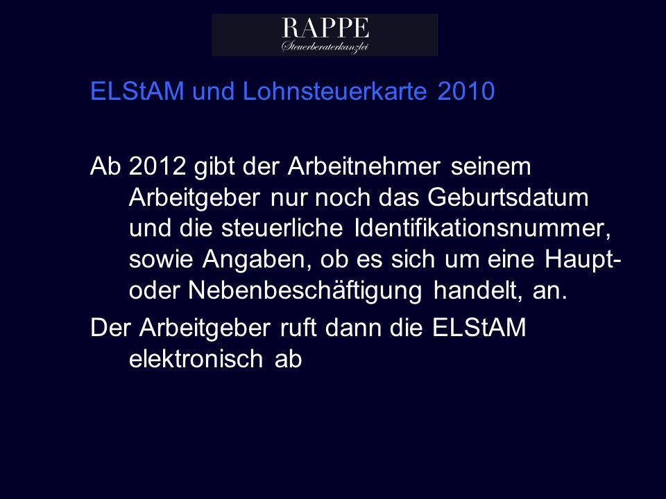 ELStAM und Lohnsteuerkarte 2010
