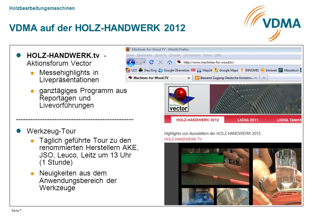 VDMA auf der HOLZ-HANDWERK 2012