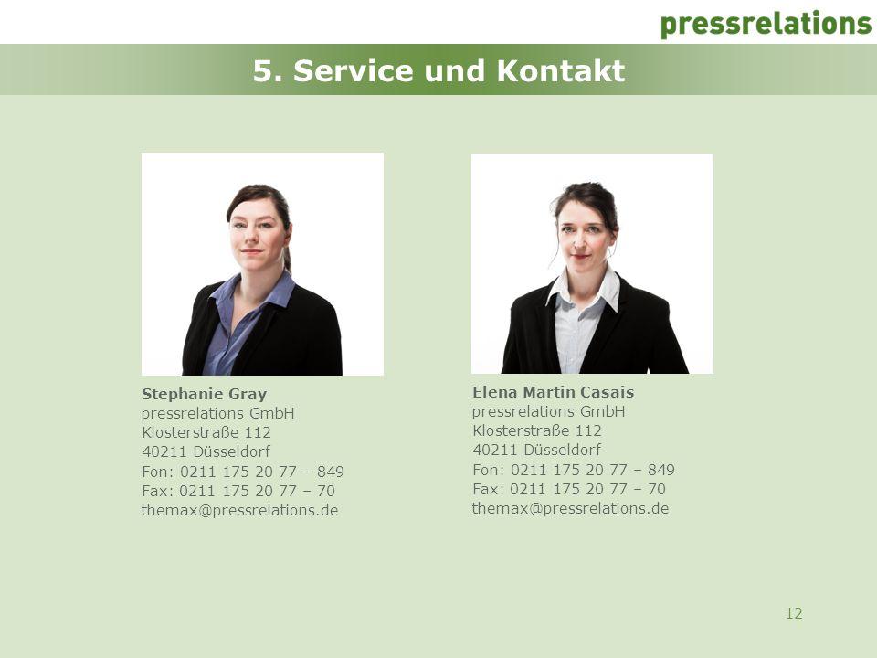 5. Service und Kontakt Stephanie Gray Elena Martin Casais