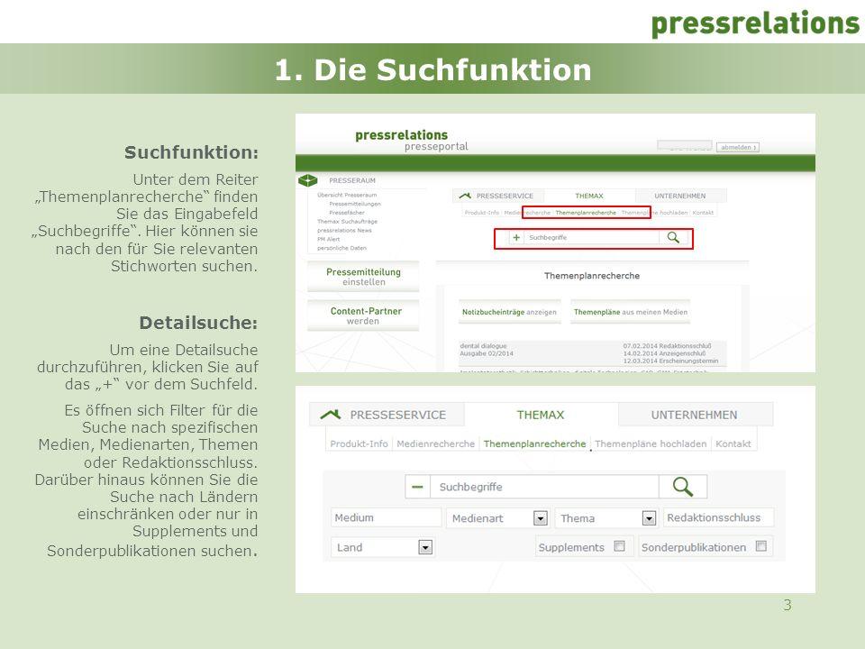 1. Die Suchfunktion Suchfunktion: Detailsuche: