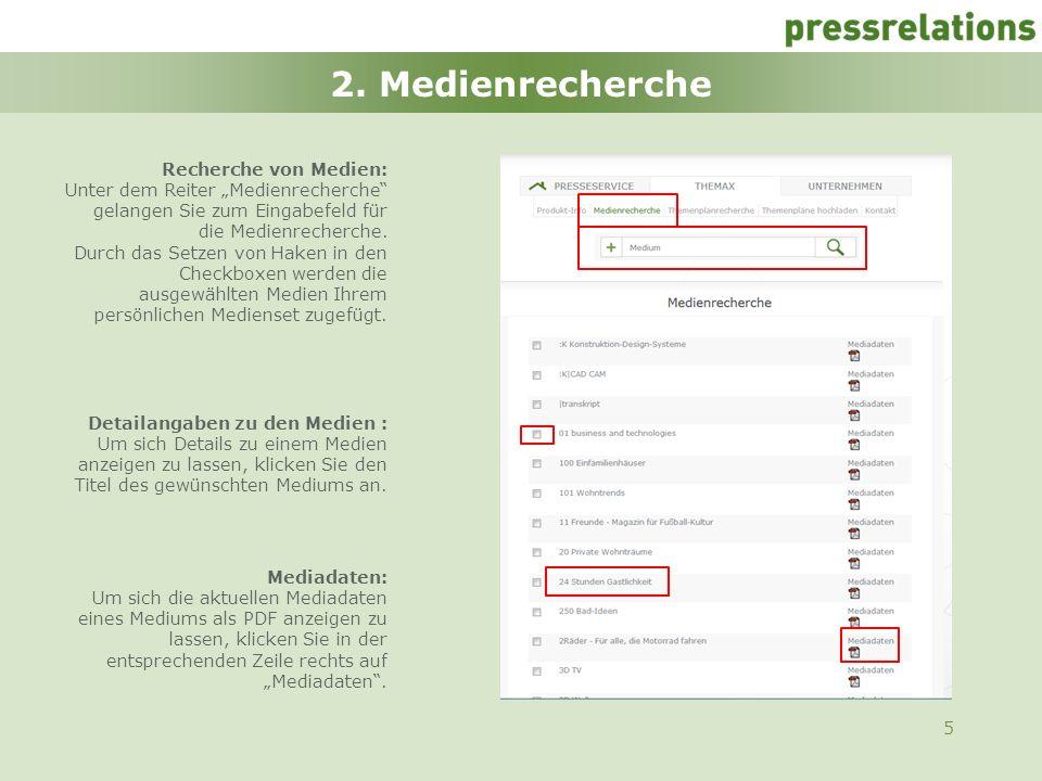 2. Medienrecherche Recherche von Medien: