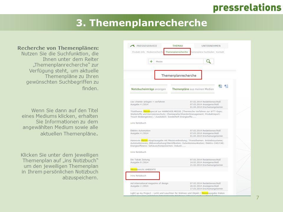 3. Themenplanrecherche Recherche von Themenplänen: