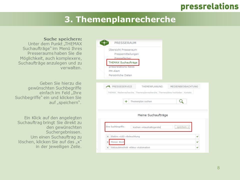 3. Themenplanrecherche Suche speichern: