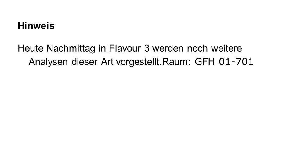 Hinweis Heute Nachmittag in Flavour 3 werden noch weitere Analysen dieser Art vorgestellt.Raum: GFH 01-701.