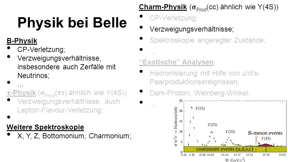 Physik bei Belle Charm-Physik (𝛔Prod(cc) ähnlich wie Y(4S))