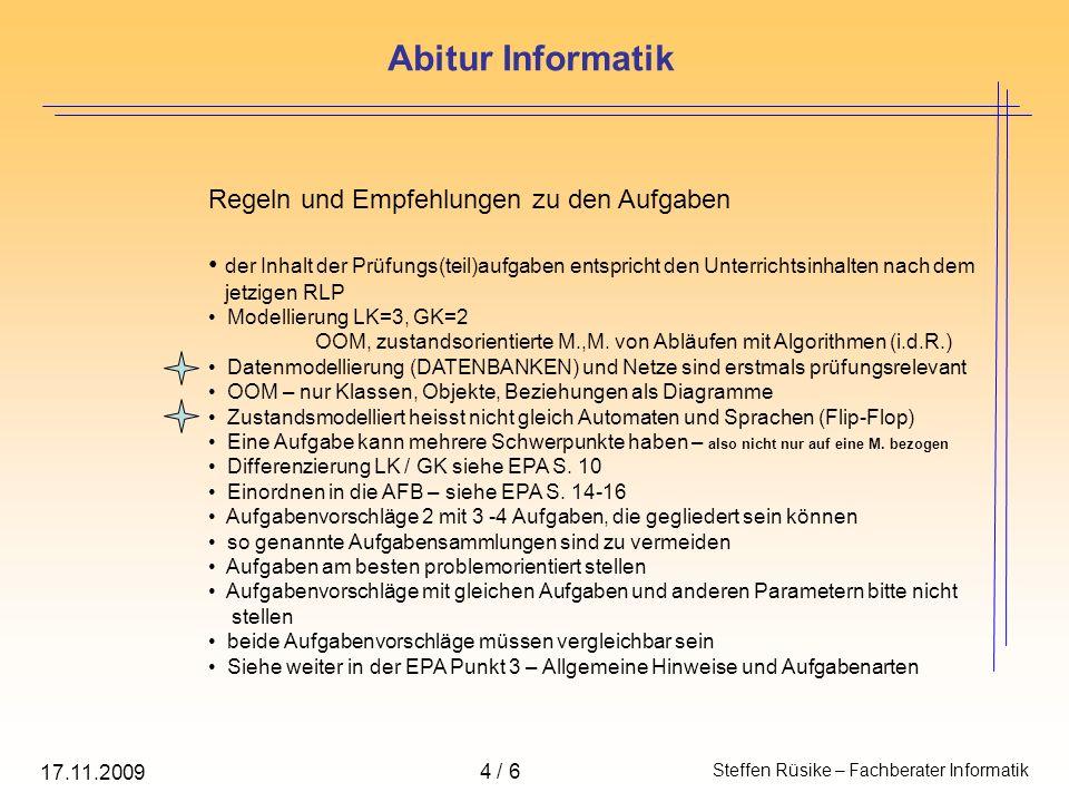 Abitur Informatik Regeln und Empfehlungen zu den Aufgaben