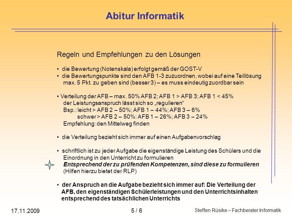 Abitur Informatik Regeln und Empfehlungen zu den Lösungen