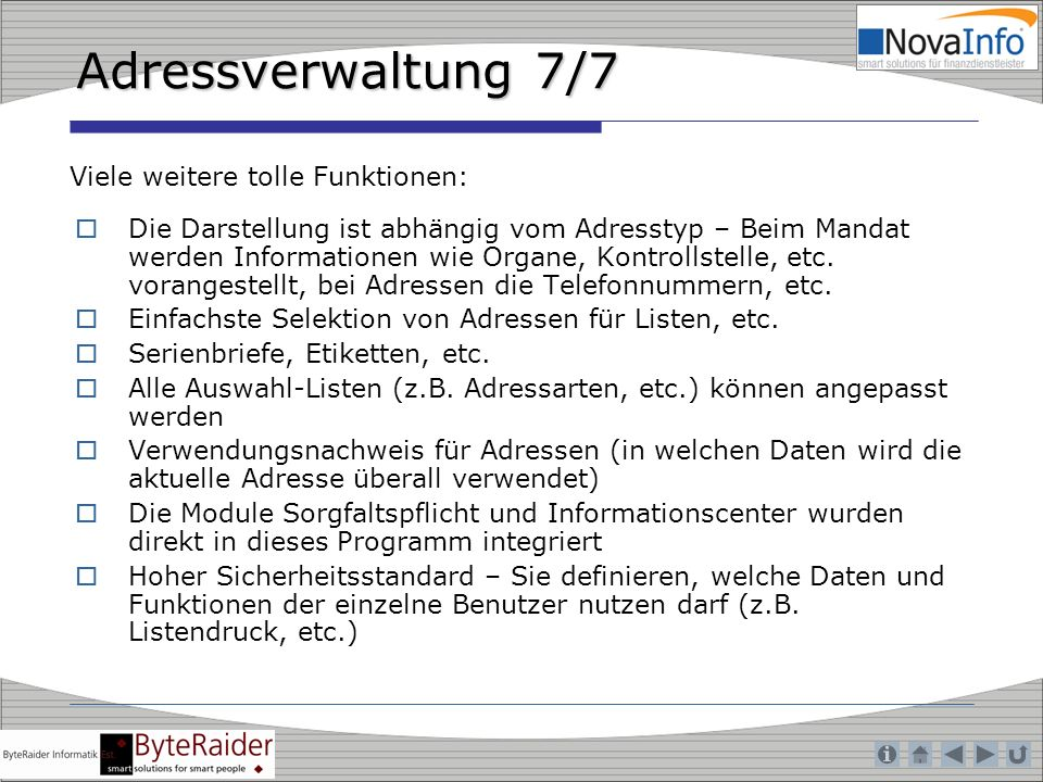 Adressverwaltung 7/7 Viele weitere tolle Funktionen:
