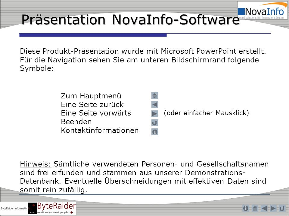 Präsentation NovaInfo-Software