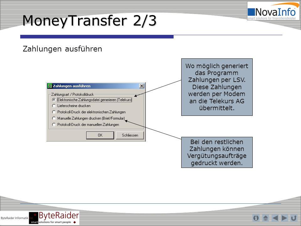 MoneyTransfer 2/3 Zahlungen ausführen