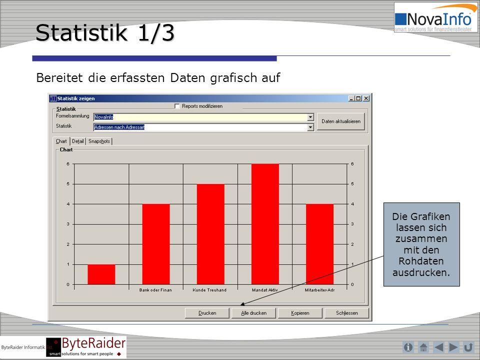 Die Grafiken lassen sich zusammen mit den Rohdaten ausdrucken.