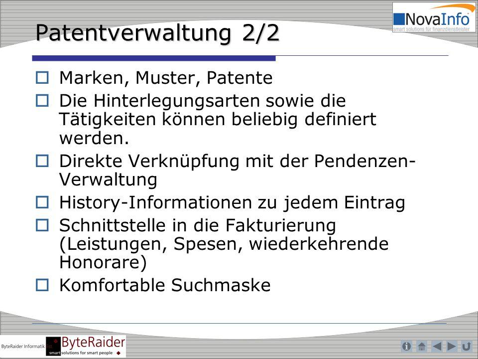 Patentverwaltung 2/2 Marken, Muster, Patente