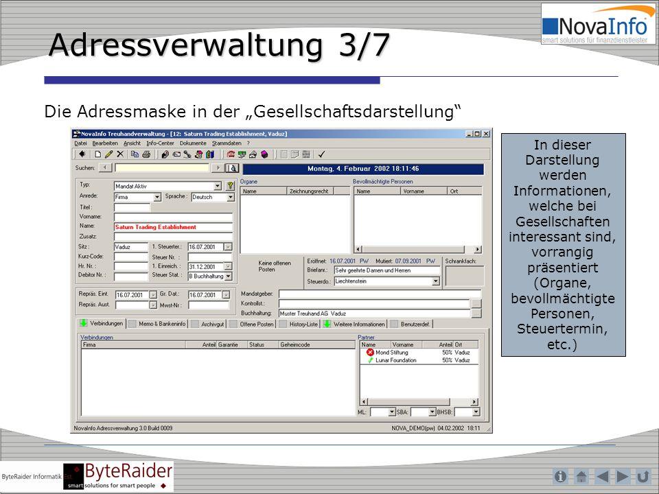 """Adressverwaltung 3/7 Die Adressmaske in der """"Gesellschaftsdarstellung"""