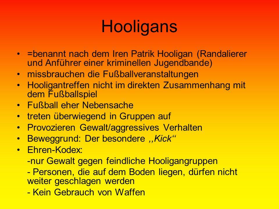 Hooligans =benannt nach dem Iren Patrik Hooligan (Randalierer und Anführer einer kriminellen Jugendbande)