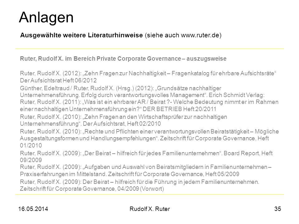 Anlagen Ausgewählte weitere Literaturhinweise (siehe auch www.ruter.de) Ruter, Rudolf X. im Bereich Private Corporate Governance – auszugsweise.