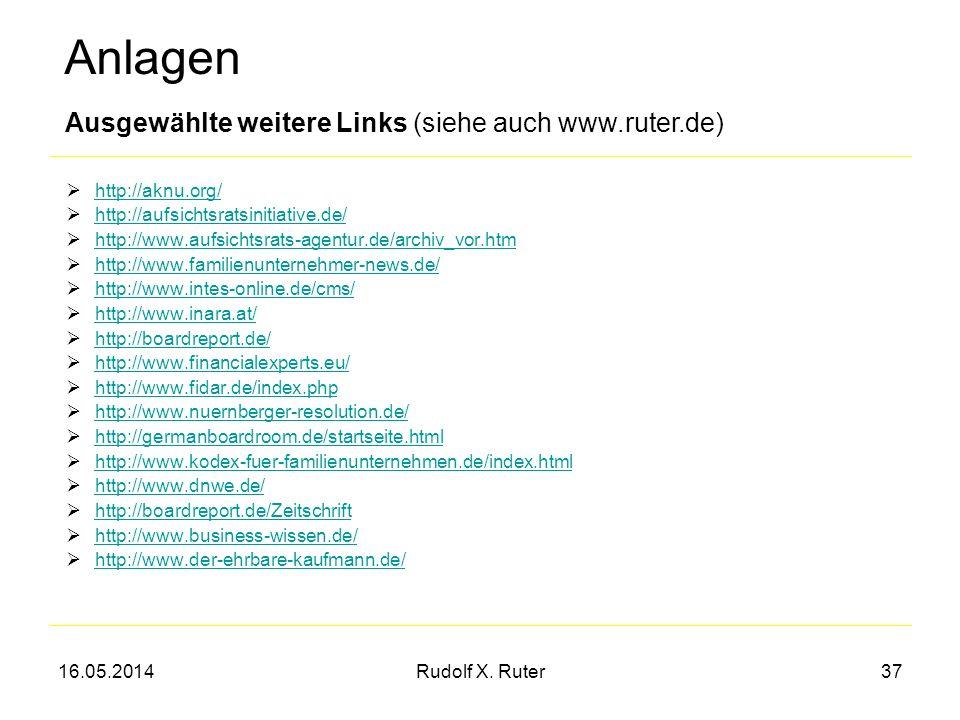 Anlagen Ausgewählte weitere Links (siehe auch www.ruter.de)