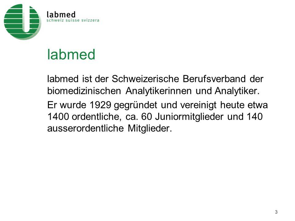 labmed labmed ist der Schweizerische Berufsverband der biomedizinischen Analytikerinnen und Analytiker.