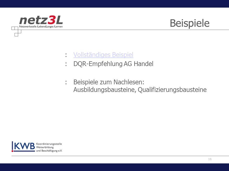 Beispiele Vollständiges Beispiel DQR-Empfehlung AG Handel