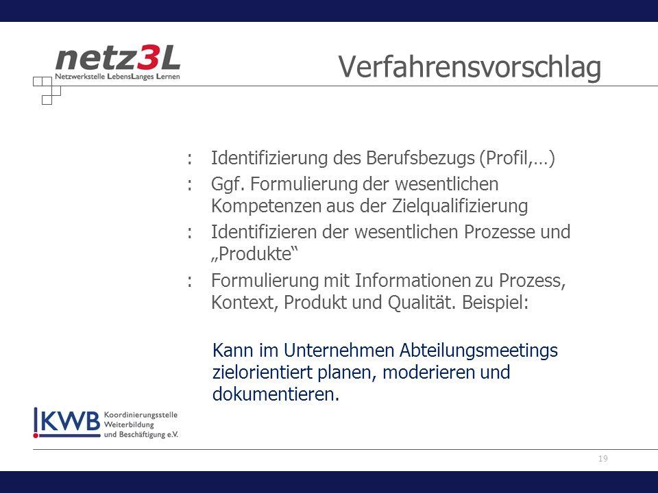 Verfahrensvorschlag Identifizierung des Berufsbezugs (Profil,…)