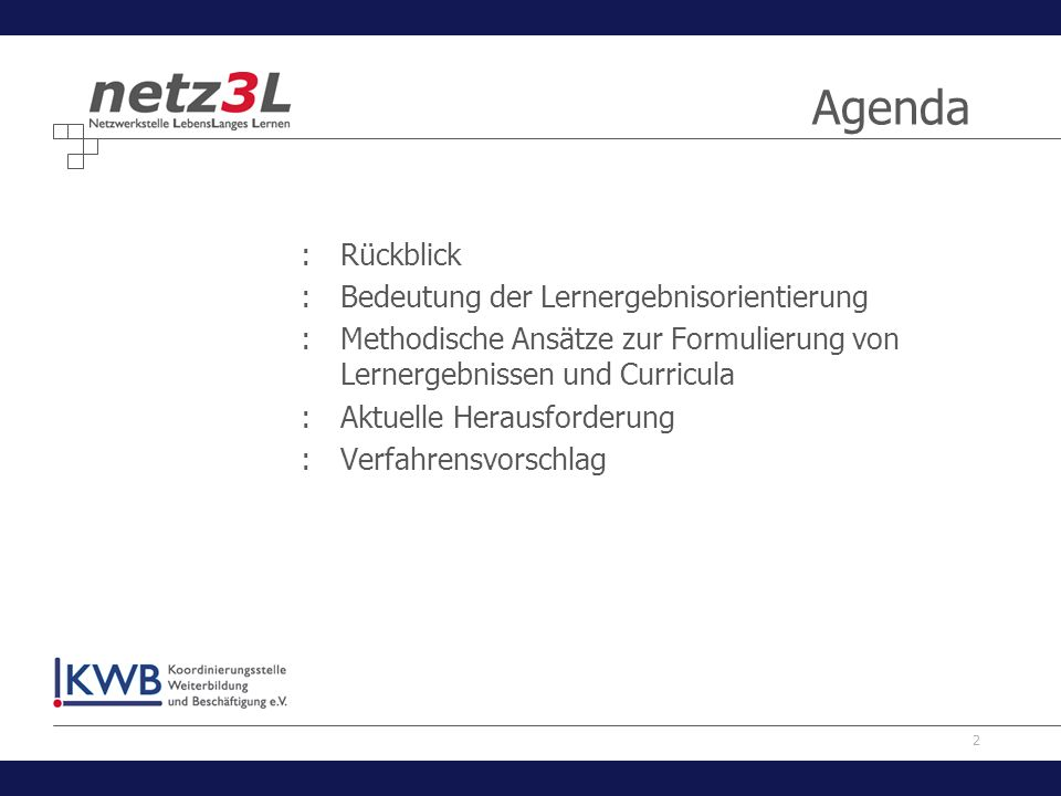 Agenda Rückblick Bedeutung der Lernergebnisorientierung