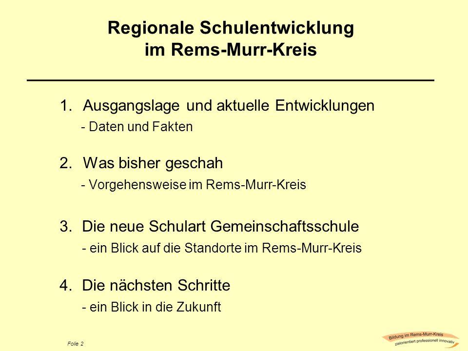 Regionale Schulentwicklung im Rems-Murr-Kreis ________________________________________