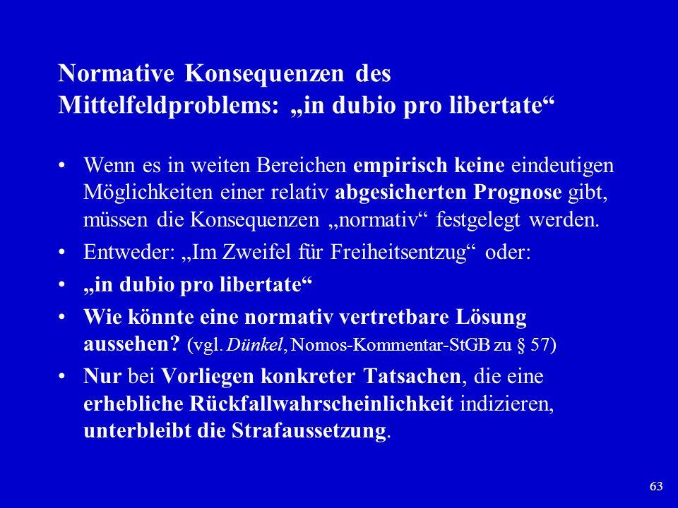 """Normative Konsequenzen des Mittelfeldproblems: """"in dubio pro libertate"""