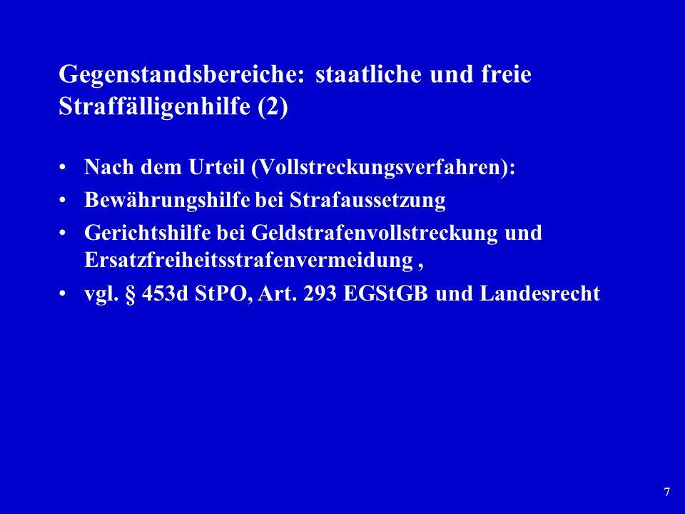 Gegenstandsbereiche: staatliche und freie Straffälligenhilfe (2)