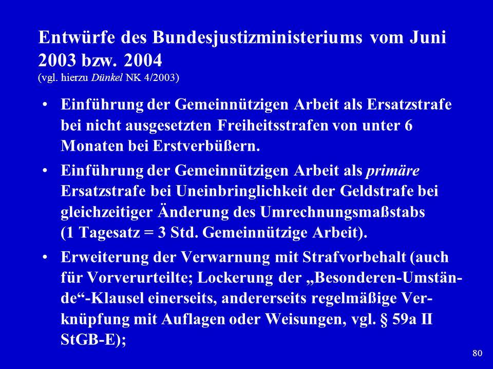 Entwürfe des Bundesjustizministeriums vom Juni 2003 bzw. 2004 (vgl