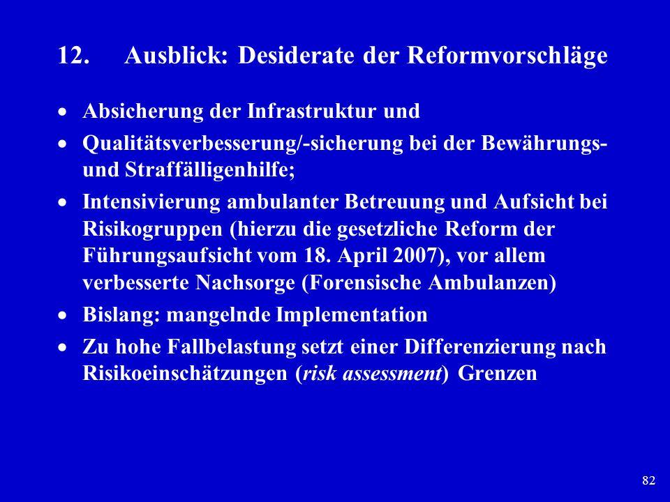 12. Ausblick: Desiderate der Reformvorschläge
