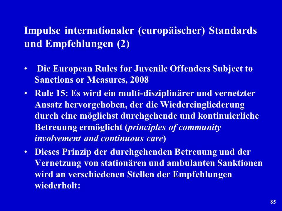 Impulse internationaler (europäischer) Standards und Empfehlungen (2)