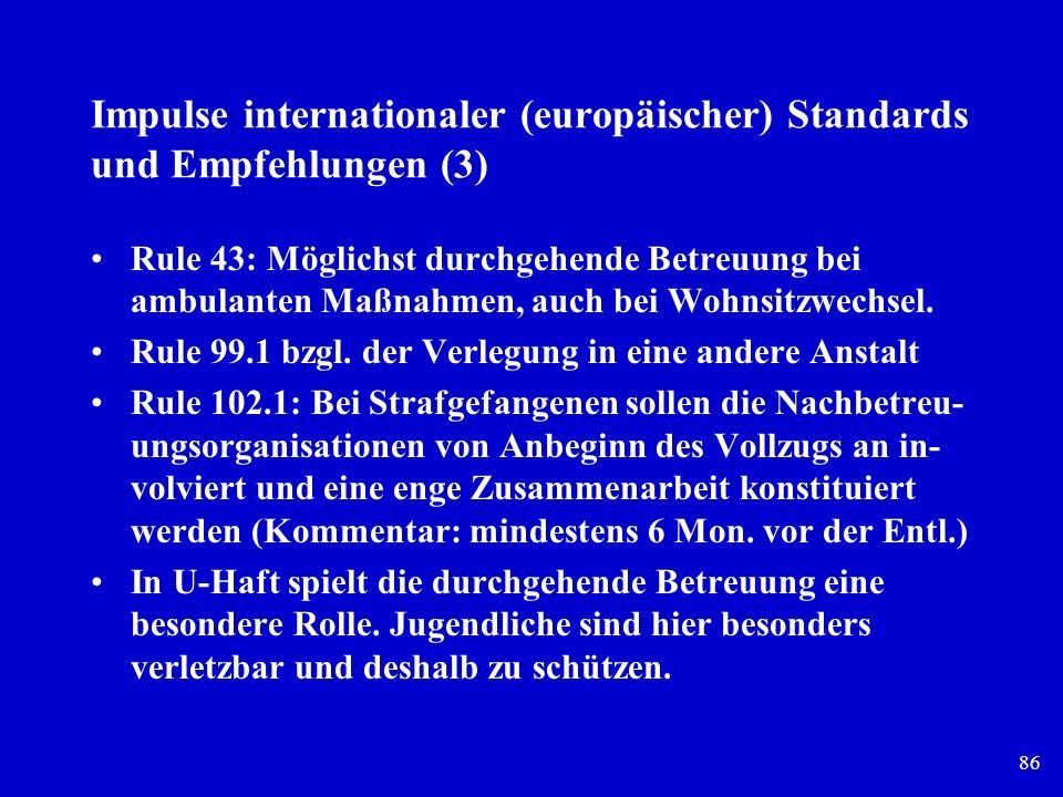 Impulse internationaler (europäischer) Standards und Empfehlungen (3)