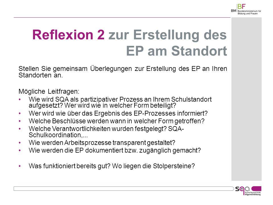 Reflexion 2 zur Erstellung des EP am Standort