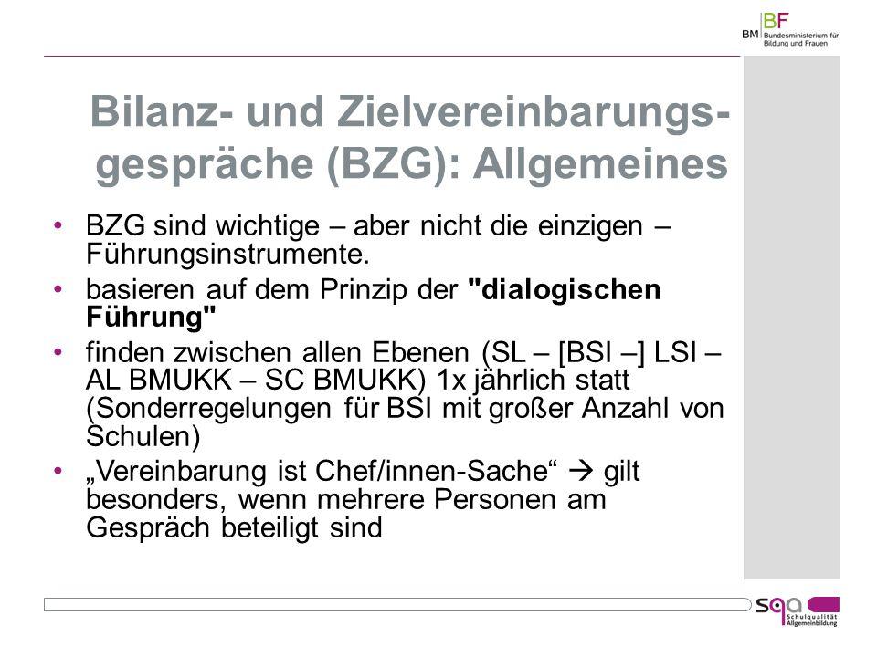 Bilanz- und Zielvereinbarungs-gespräche (BZG): Allgemeines