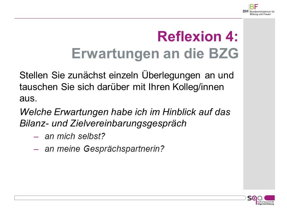 Reflexion 4: Erwartungen an die BZG