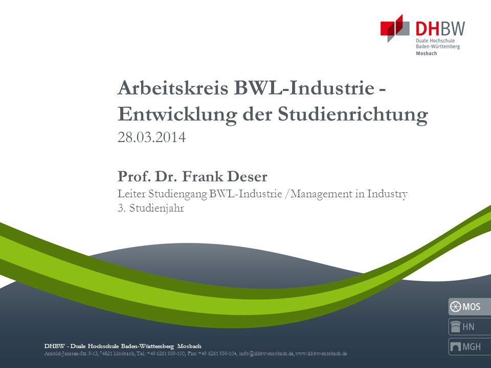 Arbeitskreis BWL-Industrie - Entwicklung der Studienrichtung 28. 03
