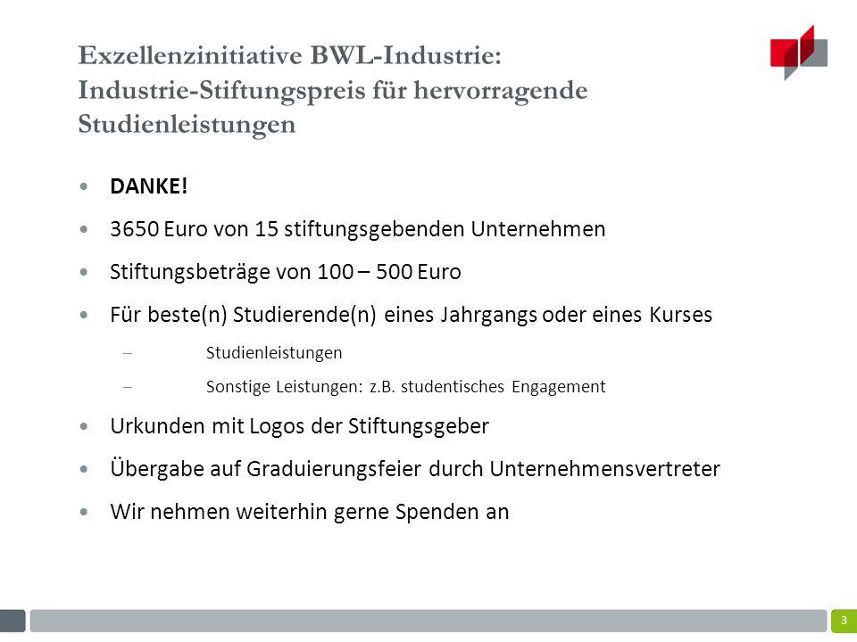 Exzellenzinitiative BWL-Industrie: Industrie-Stiftungspreis für hervorragende Studienleistungen