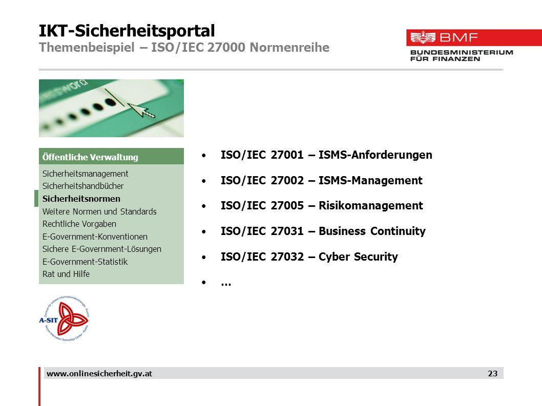 IKT-Sicherheitsportal Themenbeispiel – ISO/IEC 27000 Normenreihe