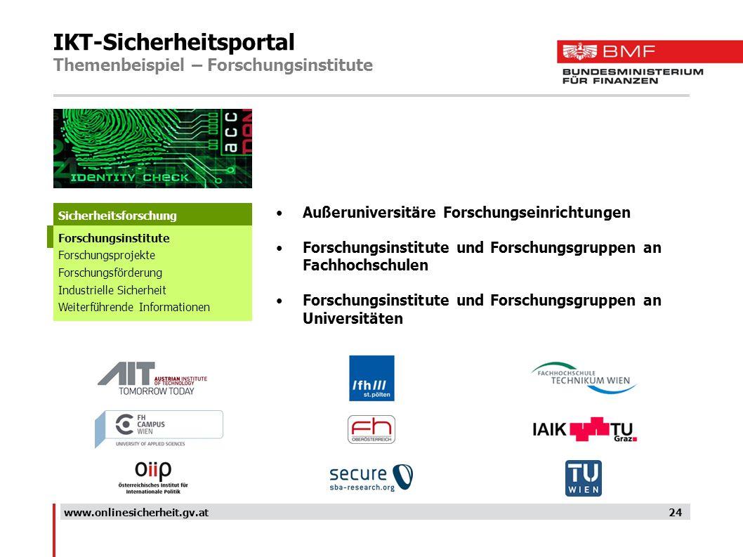 IKT-Sicherheitsportal Themenbeispiel – Forschungsinstitute