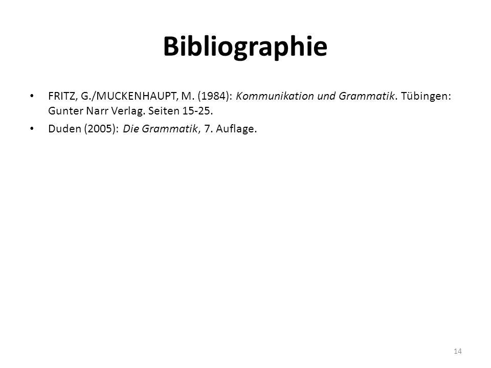 Bibliographie FRITZ, G./MUCKENHAUPT, M. (1984): Kommunikation und Grammatik. Tübingen: Gunter Narr Verlag. Seiten 15-25.