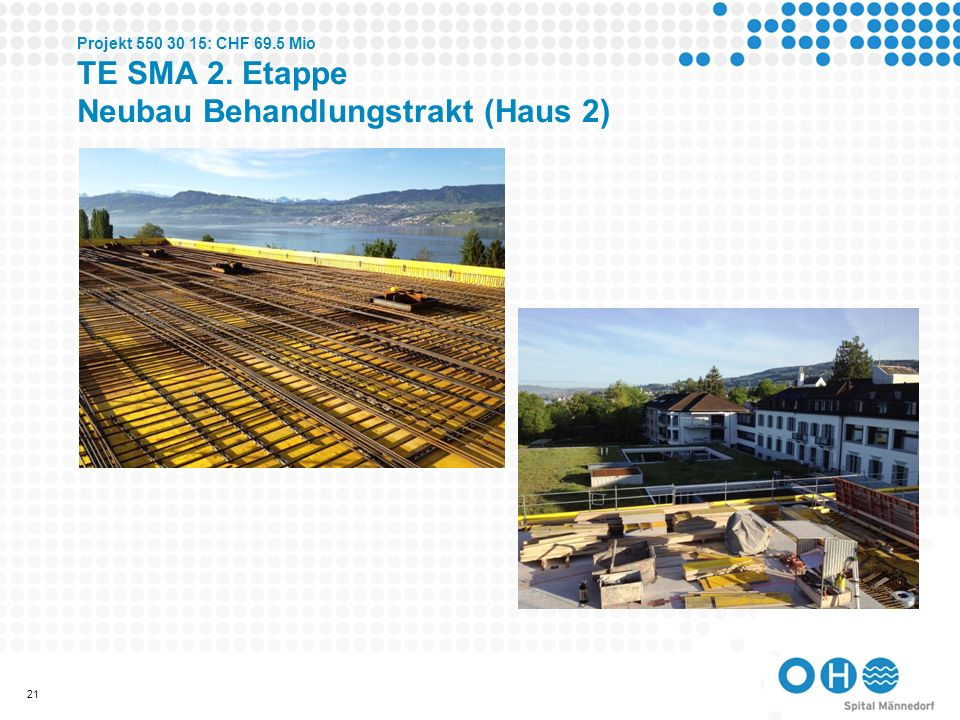 Projekt 550 30 15: CHF 69.5 Mio TE SMA 2. Etappe Neubau Behandlungstrakt (Haus 2)