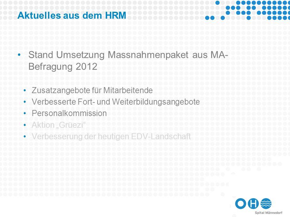 Stand Umsetzung Massnahmenpaket aus MA-Befragung 2012